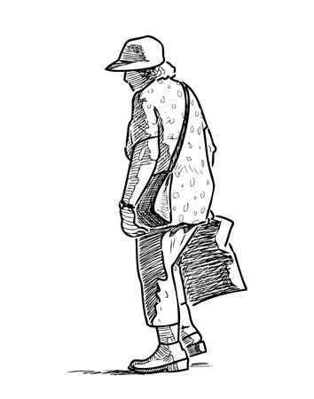 Sketch of a senior woman going on a stroll