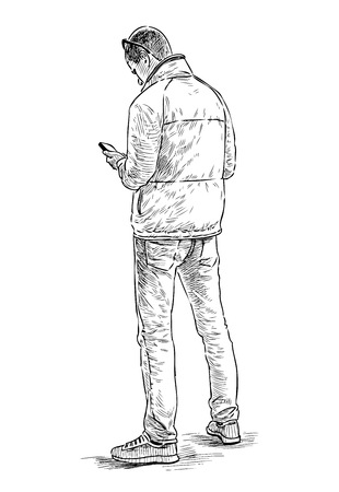 Sketch of young townsman with a cell phone