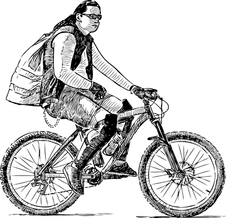 A fashionable guy rides a bicycle Ilustrace