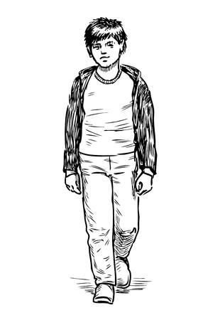 거리를 걷고 있는 캐주얼한 어린 소년의 스케치