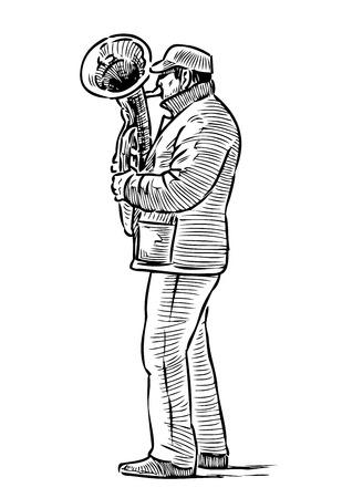 A sketch of a street musician