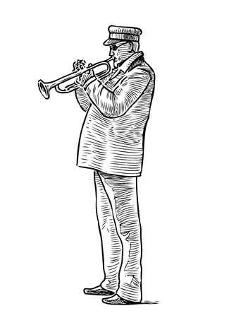 A sketch of a street trumpeter Illustration