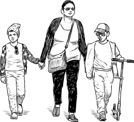 A tonswoman with her kids going on a stroll Ilustrace