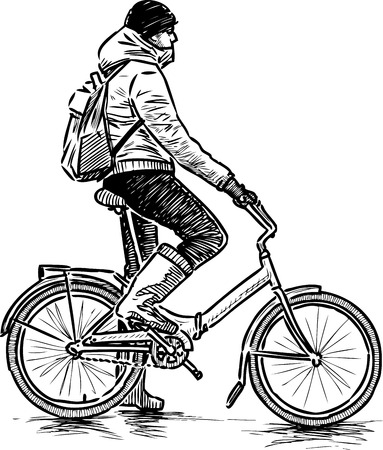 Hand drawing of a casual stopping bicyclist Ilustrace