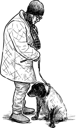 Hand drawing of an elderly woman with her dog