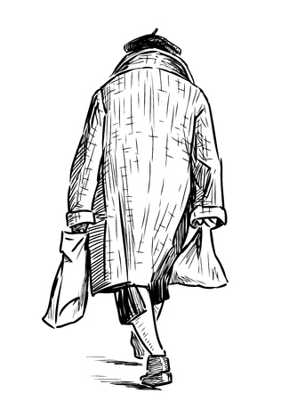 Hand drawing of an old woman with the bags goes down the street