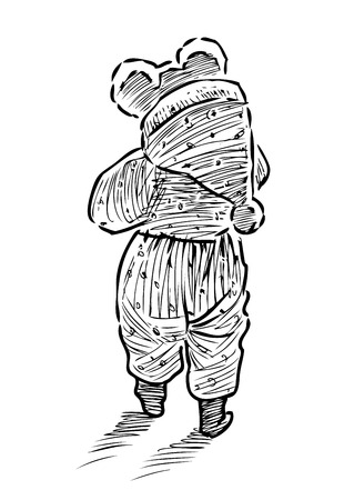 Sketch of a baby in overalls for a walk Ilustrace