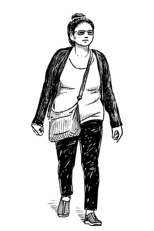 Sketch of a casual  woman walking down the street