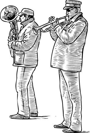 Sketch of a duet of street musicians