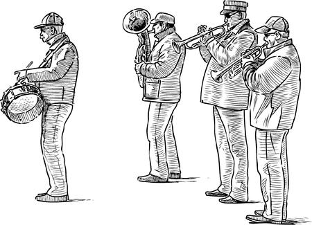 Szkic kwartetu ulicznych muzyków