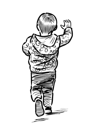 Sketch of a running little boy