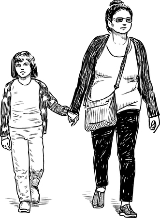 Sketch of a townswoman with her child going down the street
