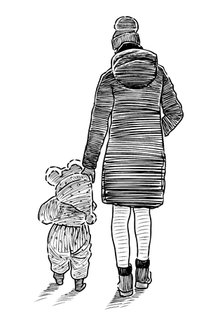 Sketch of a young mother with her kid going on a stroll Ilustrace