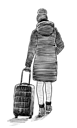 Sketch of a young woman going with her suitcase Ilustrace