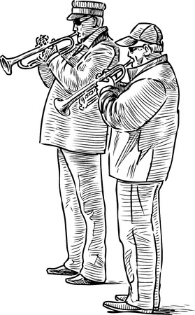 Sketch of an elderly street musicians