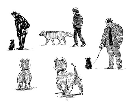 Sketches of dogs on walk with their owners