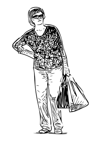Sketch of a casual townswoman standing with bags on the street