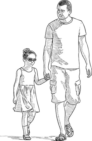Father with his daughter strolling in a sunny summer day