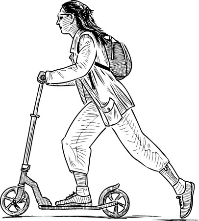 Sketch of a townswoman riding a scooter Ilustrace
