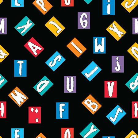Seamless pattern of an alphabet from decorative drawn letters