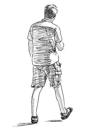 Croquis d'un jeune décontracté marchant dans la rue Vecteurs