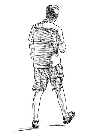 Sketch of a casual young person walking down the street Çizim