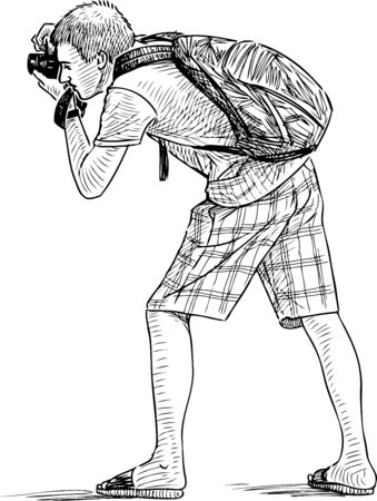 Sketch of a young man shooting on his camera