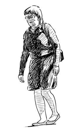 Sketch of an elderly townswoman walking down the street