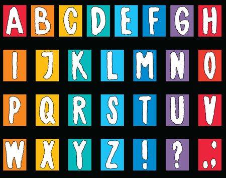 Vector image of an alphabet from decorative drawn letters Çizim