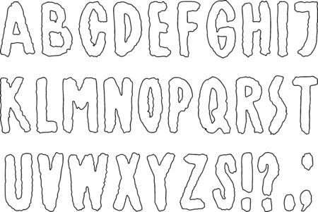 Vector image of an alphabet of outlines latin letters Illusztráció