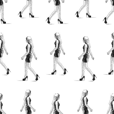 Seamless background of sketches of a walking slim young woman Çizim