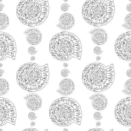 Seamless pattern of outlines of stylized fossil mollusk