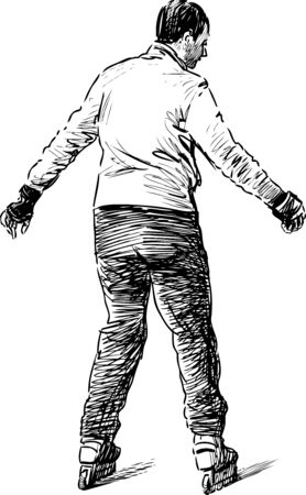Sketch of a casual townsman skating on the rollers