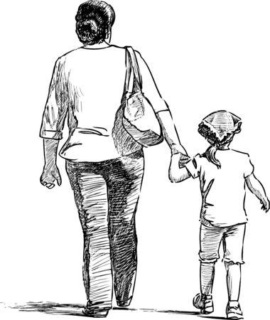 Croquis d'une mère avec sa petite fille se promenant