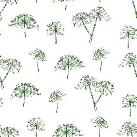 Seamless background of sketches of inflorescence of umbellate flowers  Çizim