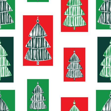 Seamless christmas pattern with stylized fir trees