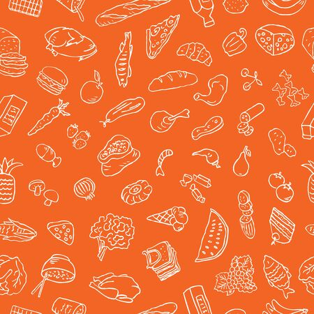 Seamless pattern of outlines of different foodstuff