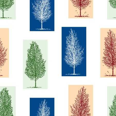 Seamless pattern of silhouettes of birch trees in different seasons Çizim