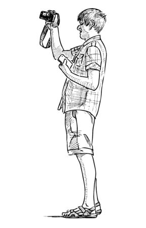 Sketch of young tourist man standing with camera and mobile phone Çizim