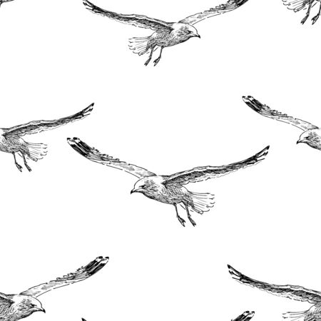 Seamless background of sketches of flying seagulls Çizim