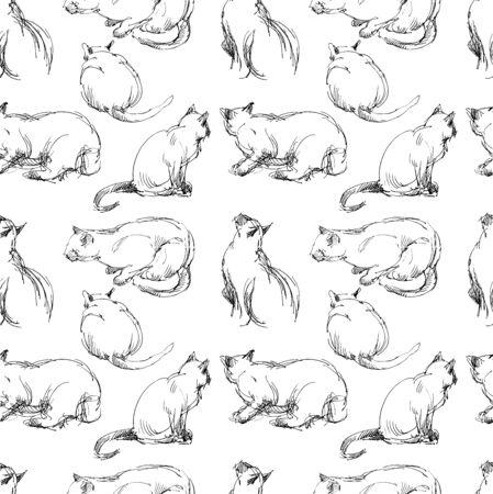 Seamless pattern of domestic cat slketches Çizim