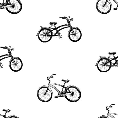 Seamless background of sketches city bicycles for active strolls Çizim