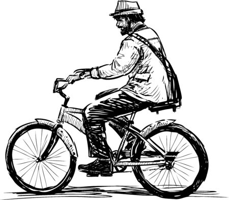 Sketch of bearded man in hat riding a bicycle