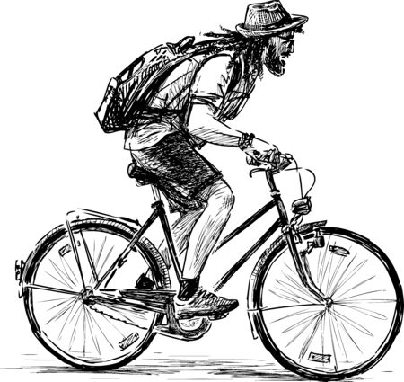 Sketch of bearded tourist in hat and sunglasses traveling a bicycle
