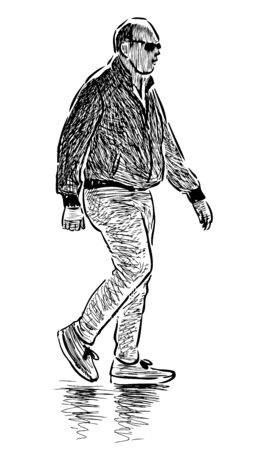 Sketch of casual bald man in sunglasses striding along street  Çizim