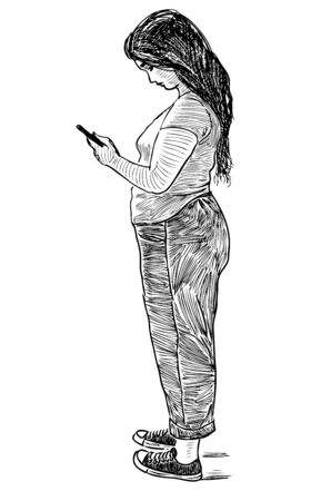Sketch of casual city girl standing on street with her smartphone Çizim