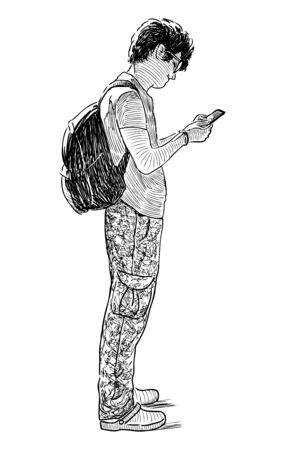Sketch of casual city guy standing on street with his smartphone