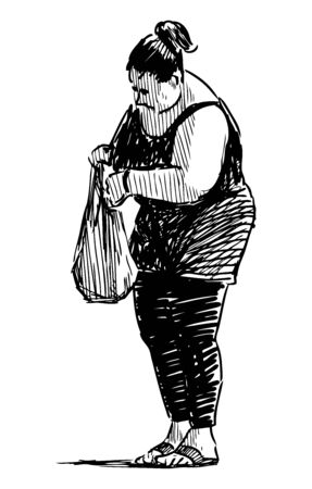 Sketch of casual city woman with bag standing on street on summer day
