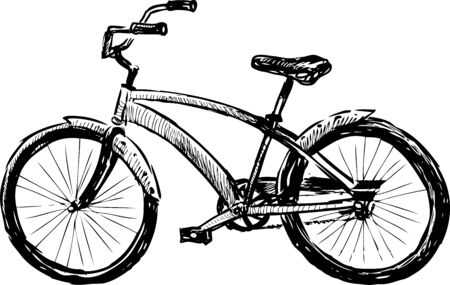 Sketch of city bicycle for active strolls Çizim