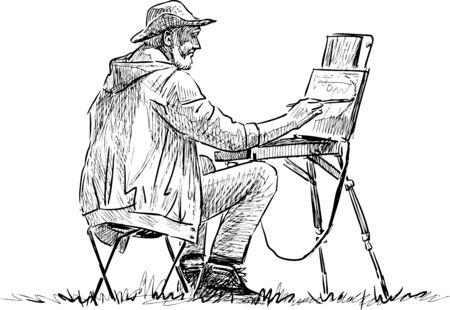 Sketch of elderly artist painting in open air